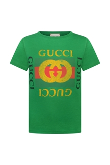 Green Logo Print Cotton Top