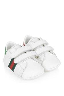 حذاء رياضي جلد أبيض للأطفال قبل سن المشي