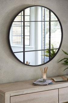 Metal Window Round Floor Standing Mirror