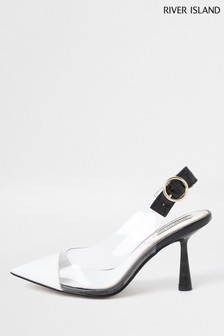 River Island White Mid Heel Sling Back Courts