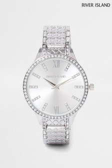 River Island White Bright Monogram Diam Bracelet Watch