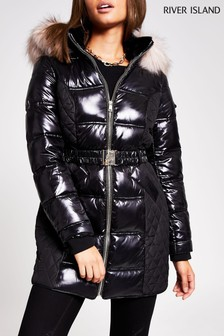 River Island Black Quilted Double Zip Padded Jacket