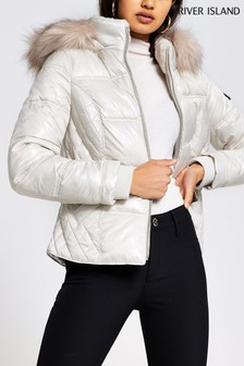 River Island Cream Quilted Double Zip Padded Jacket