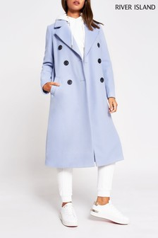 River Island Blue Drop Shoulder Coat