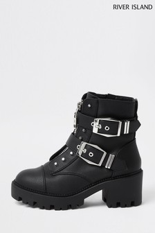 River Island Black Heeled Biker Boots