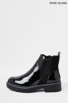 River Island Wide Fit Black Chunky Chelsea Boots