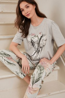 Grey Elephant Cotton Blend Pyjamas with Scrunchie