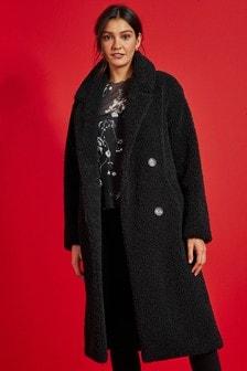 Black Longline Teddy Borg Coat