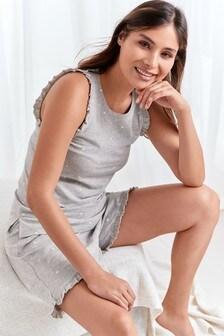 Grey Spot Organic Cotton Vest Short Set Pyjamas