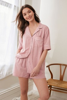 Pink Spot Button Through Short Pyjamas Set
