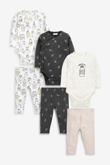 Monochrome GOTS Organic 6 Pack Milk Bodysuits and Leggings Set (0mths-2yrs)