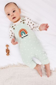 Teal Organic Cotton Rainbow Dungarees And Bodysuit Set (0mths-2yrs)