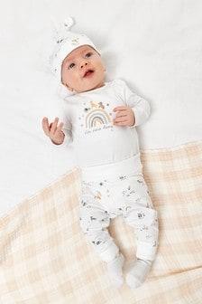 White 4 Piece Animal T-Shirt, Legging, Hat And Sock Set (0-12mths)