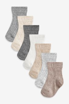 Monochrome 7 Pack Rib Socks (Newborn)