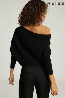 Reiss Black Lorna Asymmetric Knitted Top