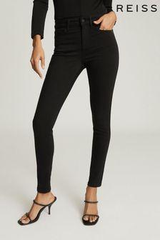 Reiss Black Lux Mid Rise Skinny Jeans