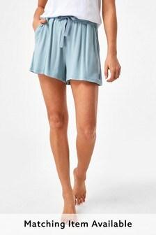 Blue Soft Viscose Shorts
