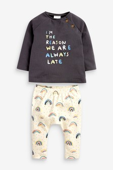 Multi GOTS Organic Rainbow T-Shirt And Leggings Set (0mths-2yrs)