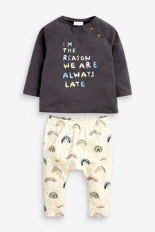 Multi Organic Cotton Rainbow T-Shirt And Leggings Set (0mths-2yrs)