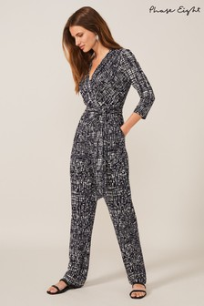 Phase Eight Blue Ezra Abstract Wrap Jumpsuit