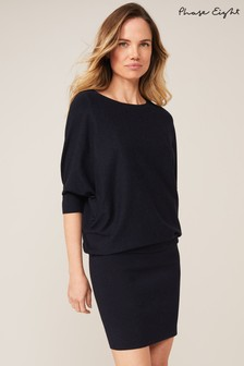 Phase Eight Blue Becca Batwing Knitted Dress