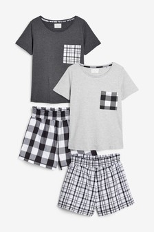 Black/White Check Cotton Blend Short Set Two Pack
