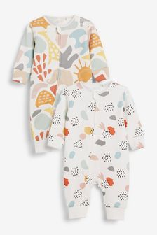 Bright Abstract 2 Pack Zip Sleepsuits (0-2yrs)