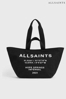 AllSaints Black Clarendon Cotton Tote Bag