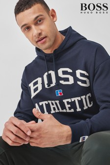 BOSS x Russell Athletic Blue Safa Hoody