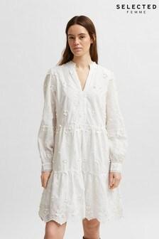 Selected Femme White Cotton Applique Flower Dress