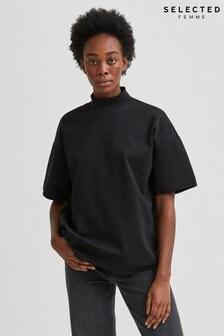 Selected Femme Black Organic Cotton Soft Sweat Gida Top