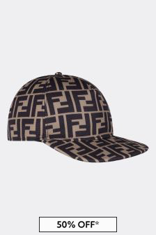Fendi Kids Brown FF Logo Cap