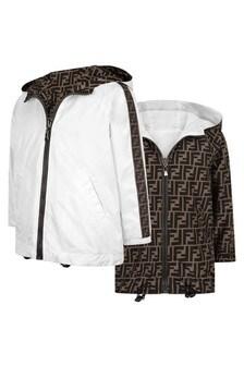 Kids White & Brown Reversible Windbreaker Jacket