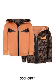 Kids Orange & Brown Reversible Zip-Up Top
