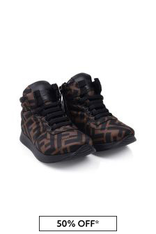 Kids Brown FF Logo High Top Trainers