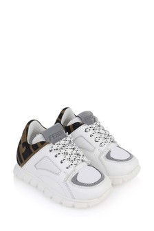 Kids White & Brown FF Logo Trainers