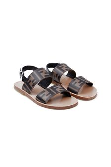Kids Beige & Brown FF Leather Sandals