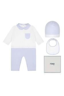 Baby Boys White & Blue Romper Gift Set