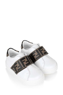 Fendi Kids White Leather FF Strap Trainers