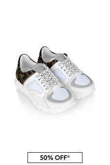White & Brown Logo Trainers
