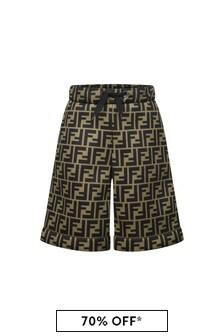 Boys Brown FF Logo Neoprene Shorts