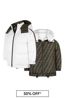 Kids White & Beige FF Reversible Bomber Jacket