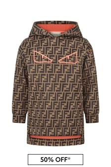 Fendi Kids Girls Brown Logo Hooded Sweater