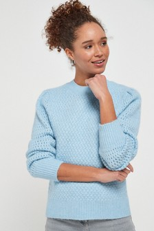 Blue Soft Textured Jumper