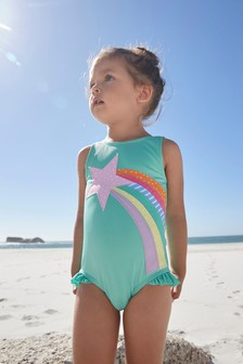 Green Appliqué Textured Swimsuit (3mths-7yrs)