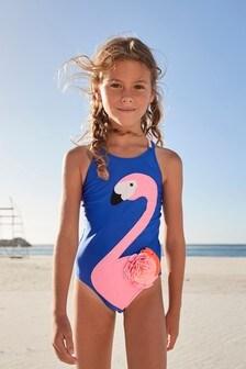 Cobalt Flamingo Swimsuit (3-16yrs)