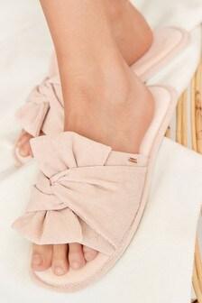 Cream Bow Slider Slippers