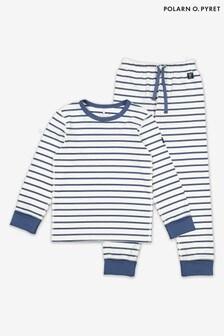 Polarn O. Pyret Blue GOTS Organic Stripe Pyjamas