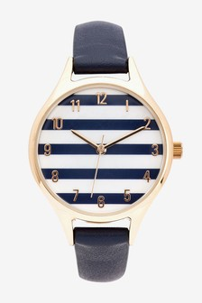 Navy Striped Dial Watch