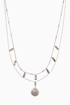 Rose Gold Tone Pearl Two Layer Necklace